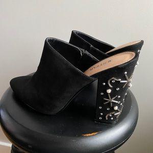 """Embellished 4"""" heeled mules - black suede"""